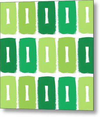 Green Boxes- Art By Linda Woods Metal Print by Linda Woods