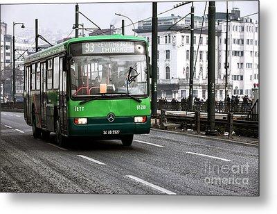 Green Bus On The Galata Metal Print