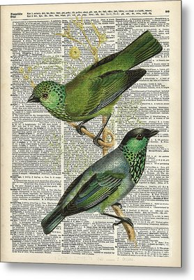 Green Canary Birds Couple Over Vintage Dictionary Book Page Metal Print by Jacob Kuch