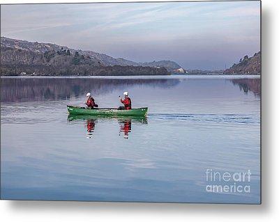 Green Canoe Metal Print by Adrian Evans