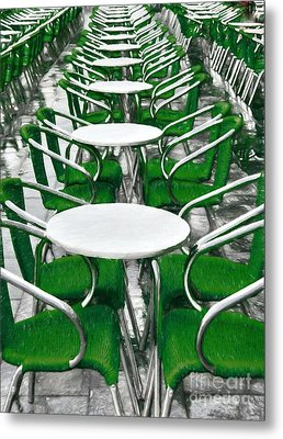 Green Chairs In Venice Metal Print by Mel Steinhauer