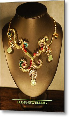 Green Chalcedony And Swarovski Crystal Wire Wrapped Necklace Metal Print by Janine Antulov