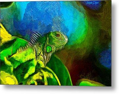 Green Chameleon - Pa Metal Print by Leonardo Digenio