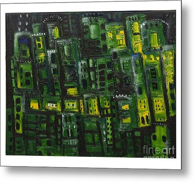 Green Cities Metal Print by Maria Curcic