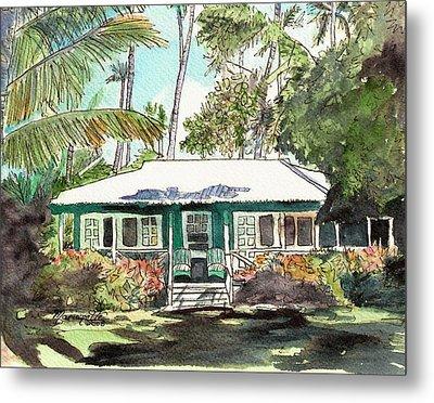 Green Cottage Metal Print