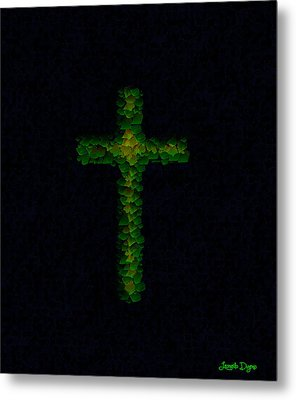 Green Cross - Palette Knife Style - Da Metal Print