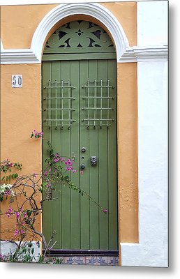 Green Door Metal Print by John Rivera