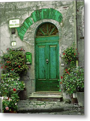 Green Door Metal Print by Karen Lewis