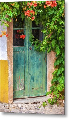 Green Door With Vine Metal Print