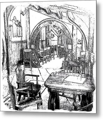 Metal Print featuring the drawing Green Dragon Inn Nook by Kathy Kelly