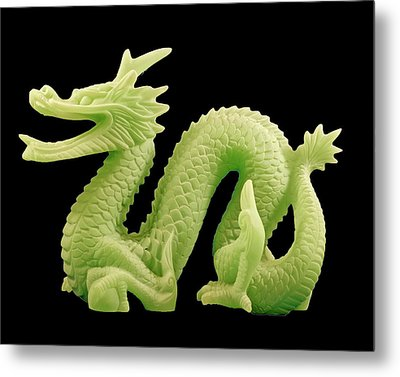 Metal Print featuring the photograph Green Dragon On Black by Bill Barber