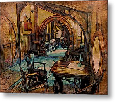 Metal Print featuring the digital art Green Dragon Writing Nook by Kathy Kelly