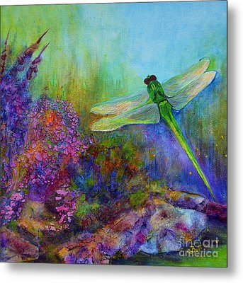 Green Dragonfly Metal Print by Claire Bull