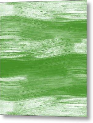 Green Drift- Abstract Art By Linda Woods Metal Print by Linda Woods