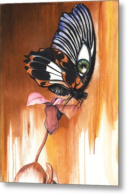 Metal Print featuring the mixed media Green Eye Butterfly by Anthony Burks Sr