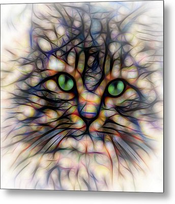 Metal Print featuring the digital art Green Eye Kitty Square by Terry DeLuco