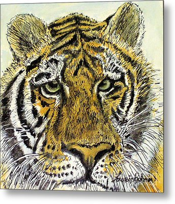 Metal Print featuring the painting Green Eyed Tiger by Laurie Rohner
