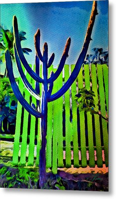 Green Fence Metal Print