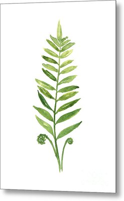 Green Fern Watercolor Art Print Painting Metal Print