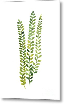 Green Fern Watercolor Minimalist Painting Metal Print