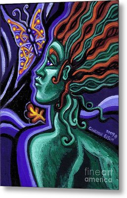 Green Goddess With Butterfly Metal Print by Genevieve Esson