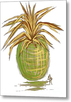 Green Gold Pineapple Painting Illustration Aroon Melane 2015 Collection By Madart Metal Print