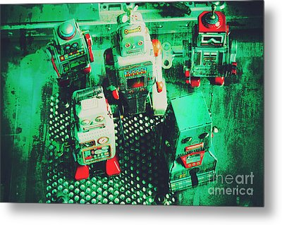 Green Grunge Comic Robots Metal Print