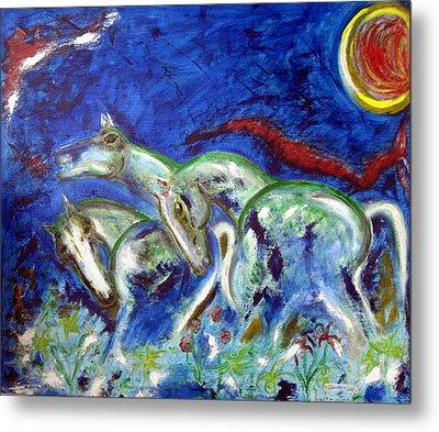 Green Horses Metal Print by Narayanan Ramachandran