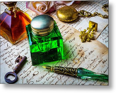 Green Ink Well Metal Print by Garry Gay