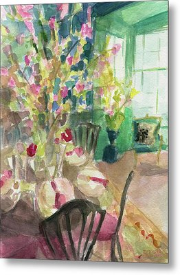 Green Interior With Cherry Blossoms Metal Print by Beverly Brown