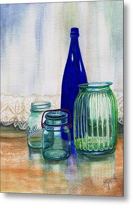 Metal Print featuring the painting Green Jars Still Life by Marilyn Smith
