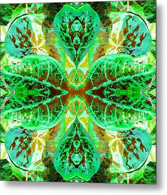 Green Leafmania 3 Metal Print by Marianne Dow