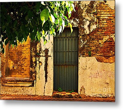 Green Leaves And Wall By Michael Fitzpatrick Metal Print by Mexicolors Art Photography