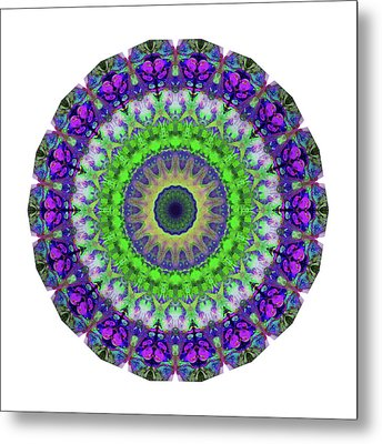 Green Light Mandala Art By Sharon Cummings Metal Print by Sharon Cummings
