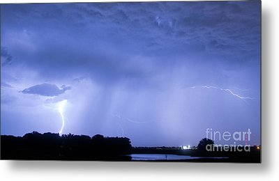 Green Lightning Bolt Ball And Blue Lightning Sky Metal Print by James BO  Insogna