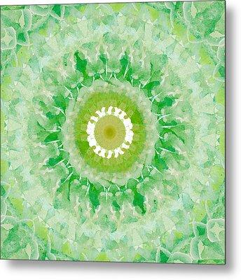 Green Mandala- Abstract Art By Linda Woods Metal Print