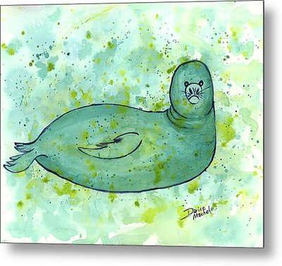 Metal Print featuring the painting Green Monk Seal by Darice Machel McGuire