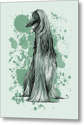 Green Paint Splatter Afghan Hound Metal Print