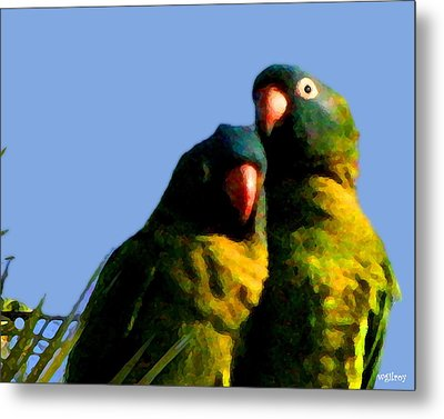 Green Parrot Metal Print by W Gilroy