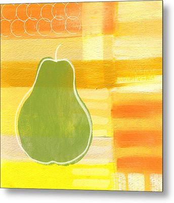 Green Pear- Art By Linda Woods Metal Print by Linda Woods