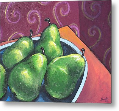 Green Pears In A Bowl Metal Print