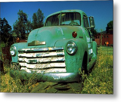 Green Pickup 1959 - American Car Photo Metal Print by Art America Gallery Peter Potter