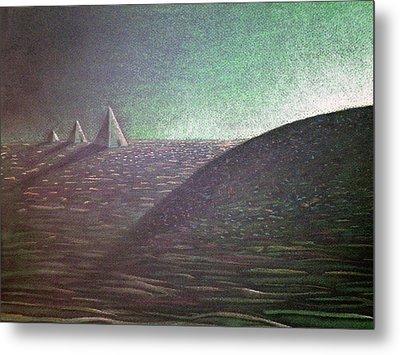 Metal Print featuring the drawing Green Pyramid B by Mayhem Mediums