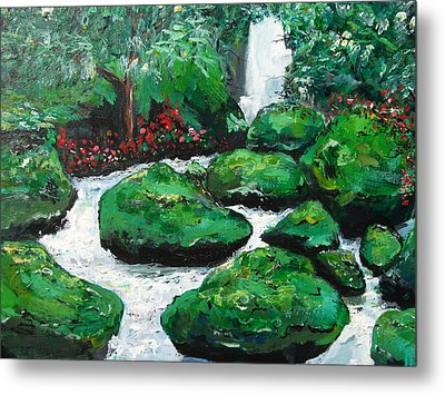 Metal Print featuring the painting Green Rock Creek by Dan Whittemore
