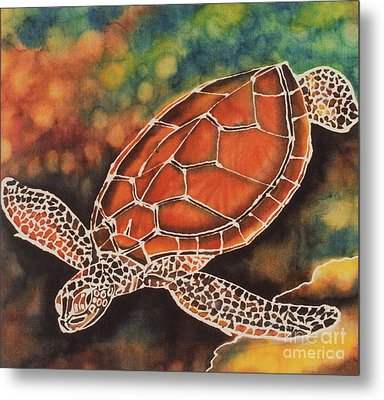 Green Sea Turtle Metal Print by Jacqueline Phillips-Weatherly