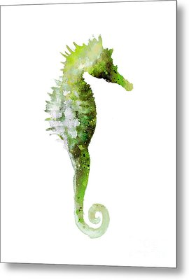 Green Seahorse Watercolor Art Print Painting Metal Print by Joanna Szmerdt