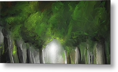 Green Serenity - Green Abstract Art Metal Print by Lourry Legarde
