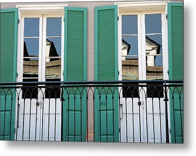 Metal Print featuring the photograph Green Shutters Reflections by KG Thienemann