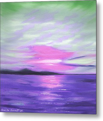 Green Skies And Purple Seas Sunset Metal Print