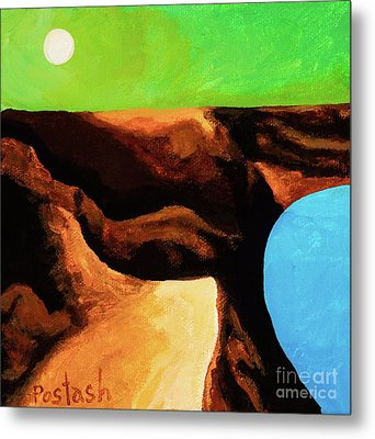 Metal Print featuring the painting Green Skies by Igor Postash